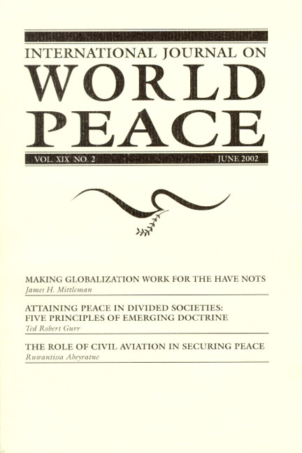 International Journal on World Peace (IJWP) Subscription, Individual